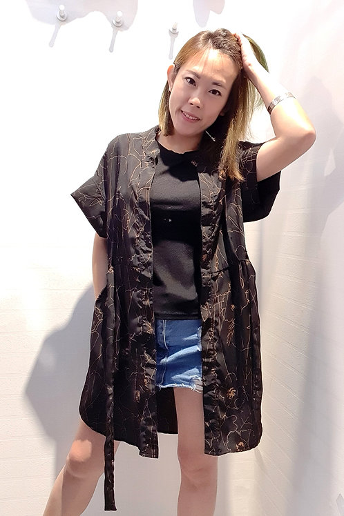 Long Summer Overlay Coat Style In Black