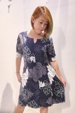 3/4 Sleeve Front Zipper Dress