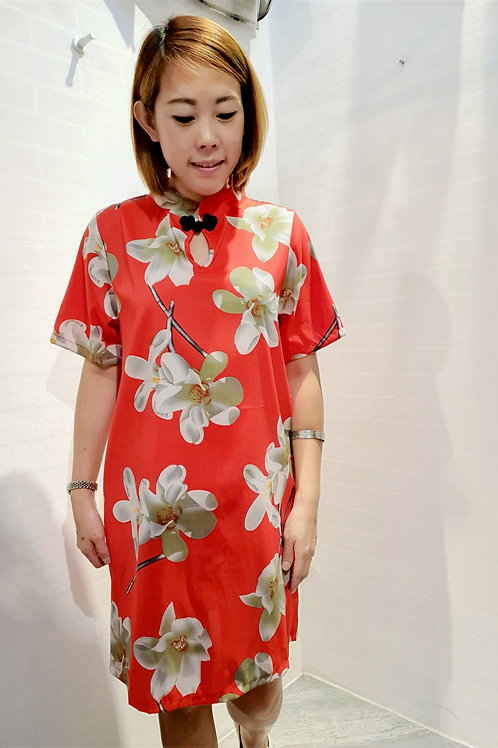 Modern Floral Sleeved Cheongsam in Red