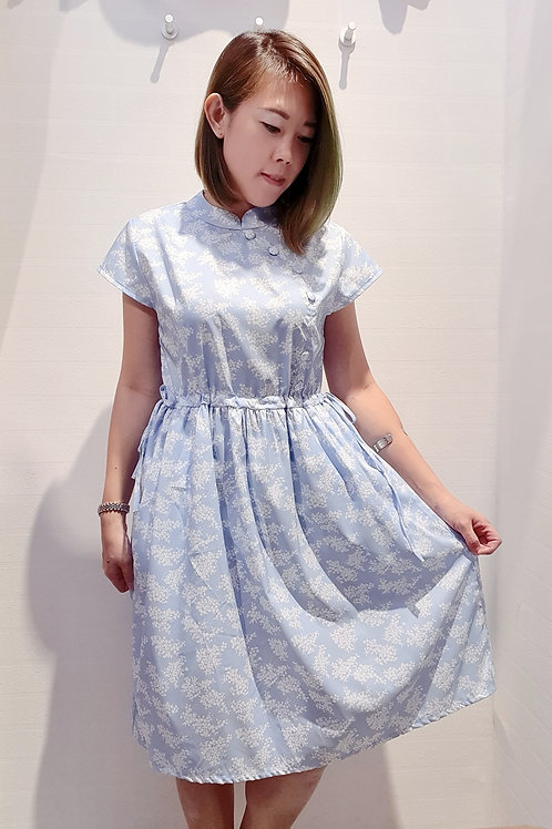 Floral Cheongsam Drawstring Dress In Blue