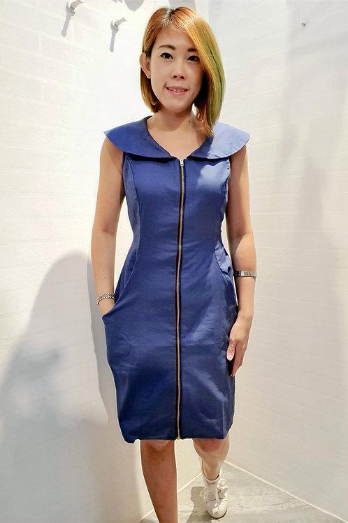 Peter Pan Collar Zipper Dress In Midnight Blue