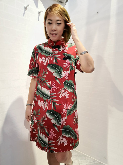 Modern Floral Buttons Cheongsam in Red