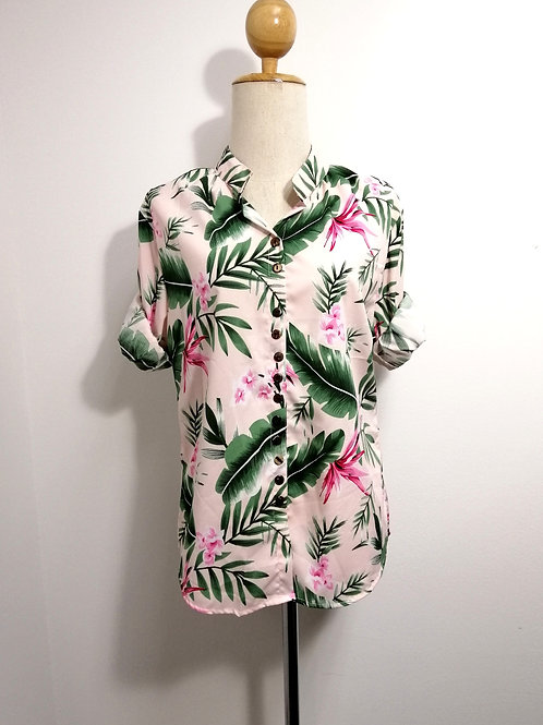 Floral Long Sleeve Shirt In Pink