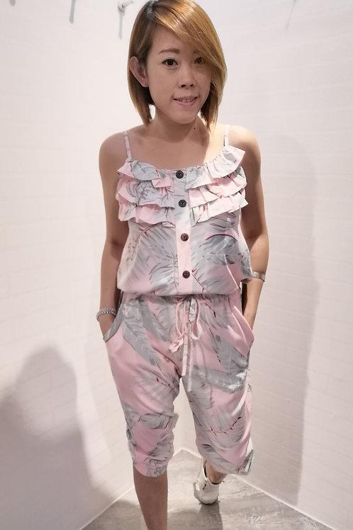 Floral Spag Jumpsuit In Pink