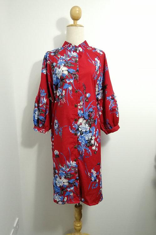 Floral Mandarin Collar Maxi Dress In Red