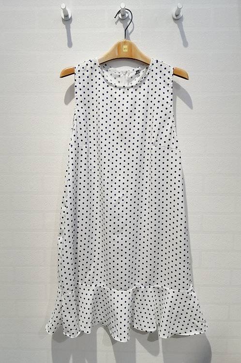Plus Size Polkadot Drop Waist Dress In White