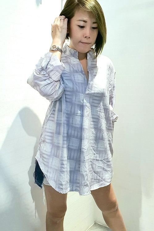 #NK035 Plus Size Mandarin Collar V-Neck Top In Grey