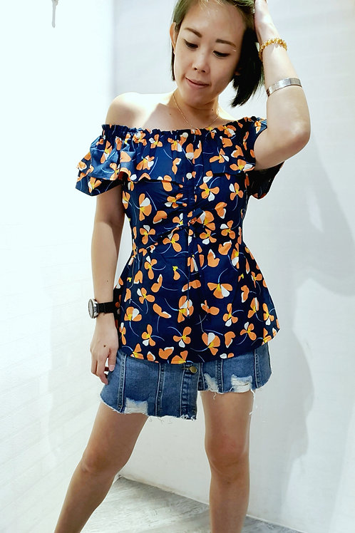 #BM028 2 WAY FLORAL BLOUSE  IN TEAL