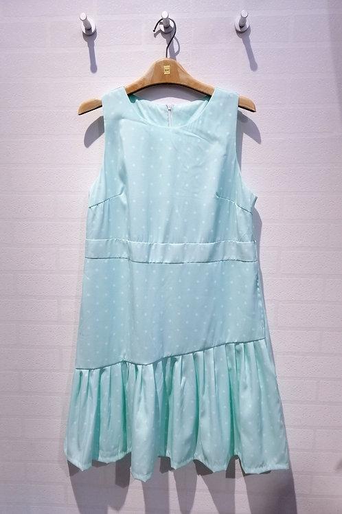 Plus Size Polkadot Symmetry Dress In Turqoise