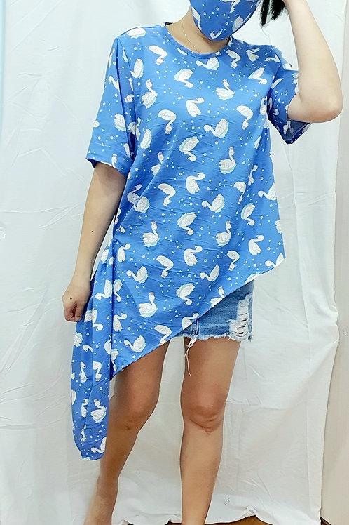 #NK092 DIAGONAL SWAN TOP IN BLUE