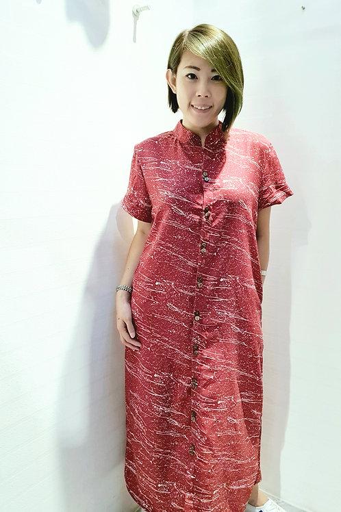 #NK073D MANDARIN COLLAR SHIRT DRESS IN RED