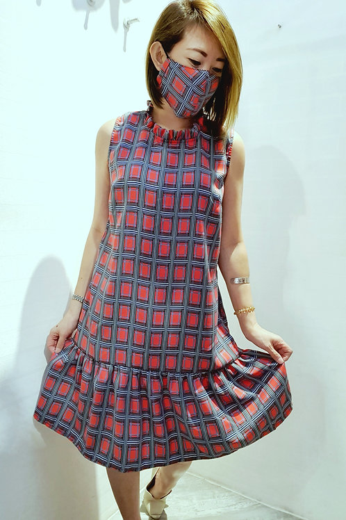#NK0113S CHECKERED DRESS IN RED