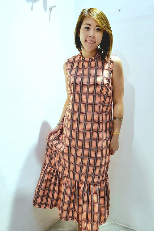 #NK0113L CHECKERED MAXI DRESS IN PINK