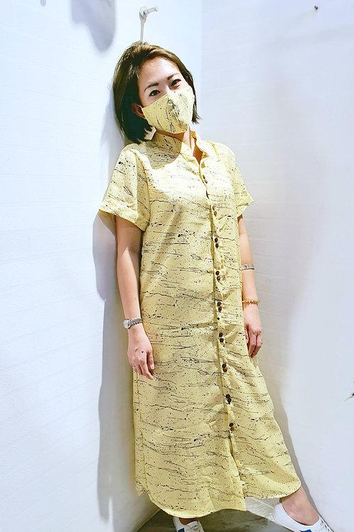 #NK073D MANDARIN COLLAR SHIRT DRESS IN YELLOW