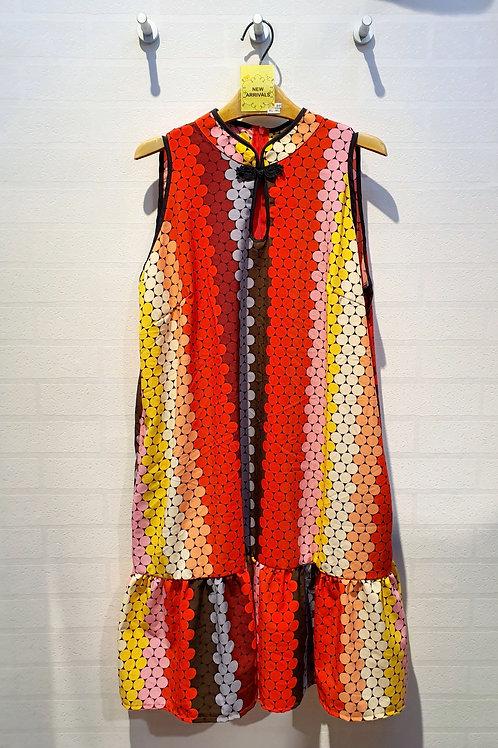Plus Size Modern Cut-in Cheongsam Dress In Red