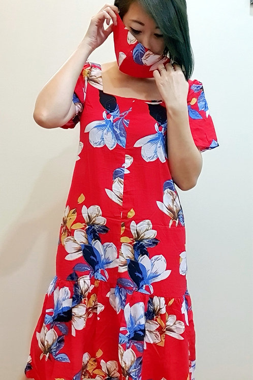 #065D Square Neck Floral Dress In Red