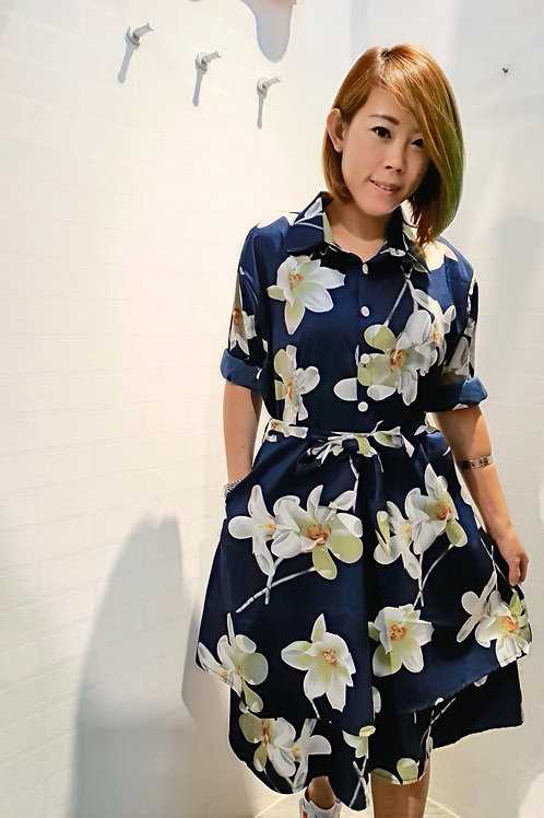 Victoria Floral Printed Shirt Dress In Blue