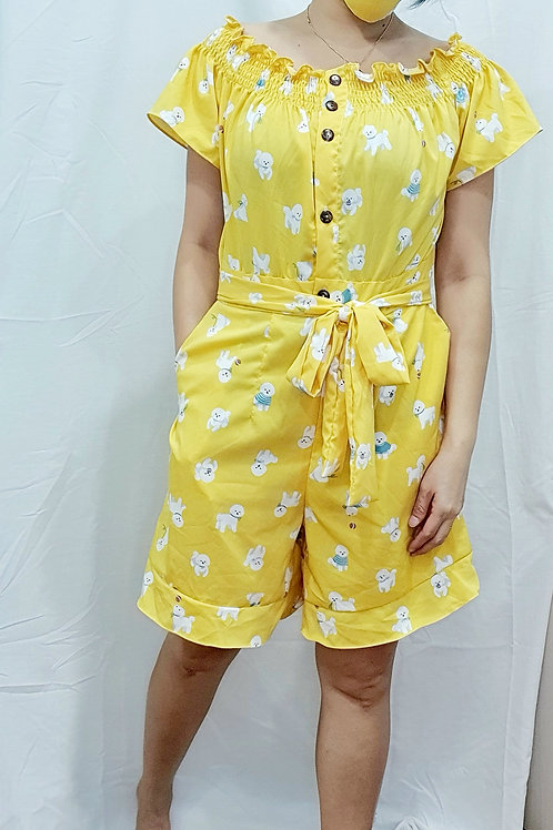 #NK086J  2 WAY PUPPY PRINTED ROMPER  IN YELLOW