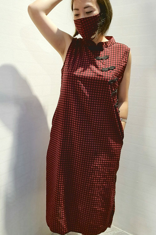NK-007 Houndstooth Midi Cheongsam In  Red