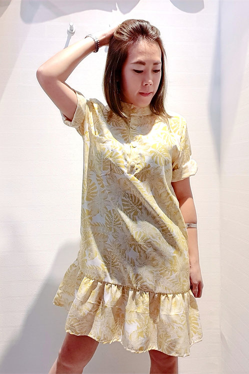Floral Mandarin Collar Drop Waist Sleeve Dress In Yellow