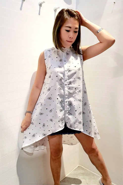 Mandarin Front Short Back Long Cat Printed Top In White
