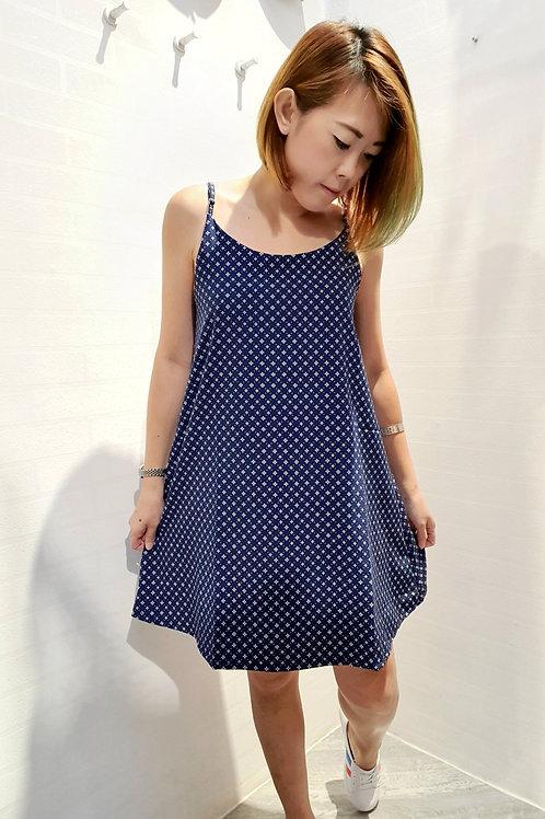 Printed Spag Dress In Blue