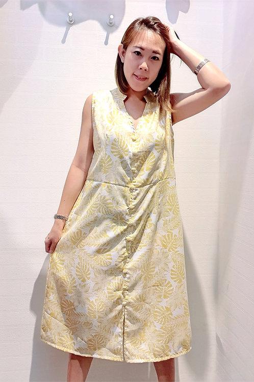 Plus Size Mandarin V Floral Midi Dress In Yellow