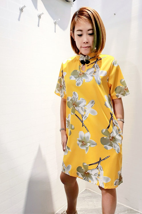 Modern Floral Sleeved Cheongsam in Yellow