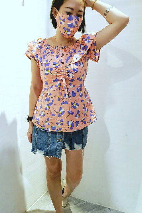 #BM028 2 WAY FLORAL BLOUSE  IN PINK
