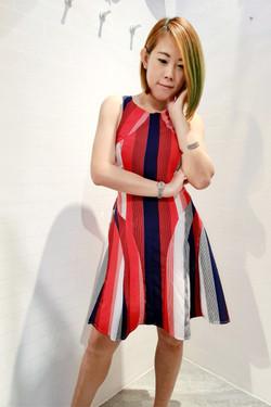Stripe Pattern One Piece Dress
