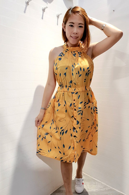 Floral Halter Neck Dress In Yellow