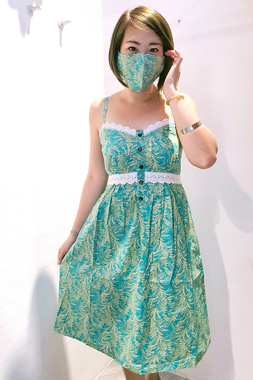 #BM008D LACE  DETAIL SPAG DRESS IN PINEAPPLE  PRINT IN TURQUOISE