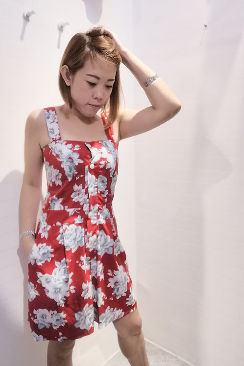 Floral Strappy Jumpsuit In Red