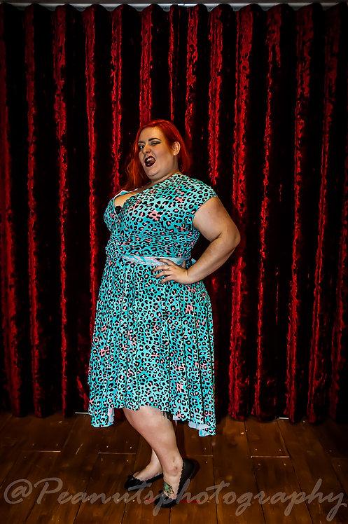 Plus Size Blue Leopard Print Fabric Multiway Dress