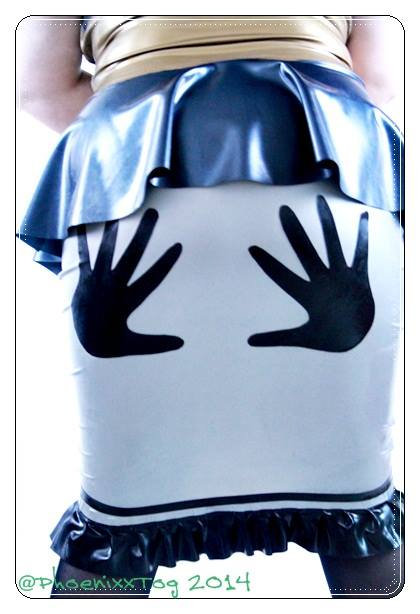 UK Size 22-24 - Plus Size Silver Applique Latex Wiggle Skirt ..