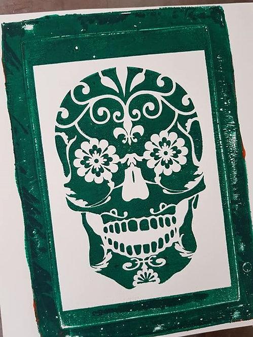 Green Sugar Skull Limited Edition Print