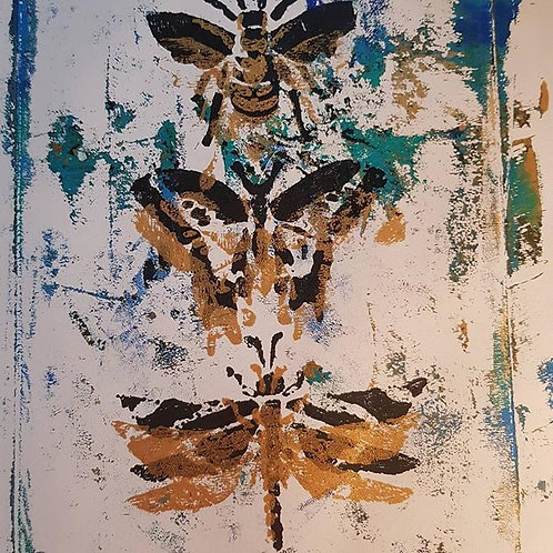 Blue with Gold Bee Butterfly Dragonfly Limited Edition Print
