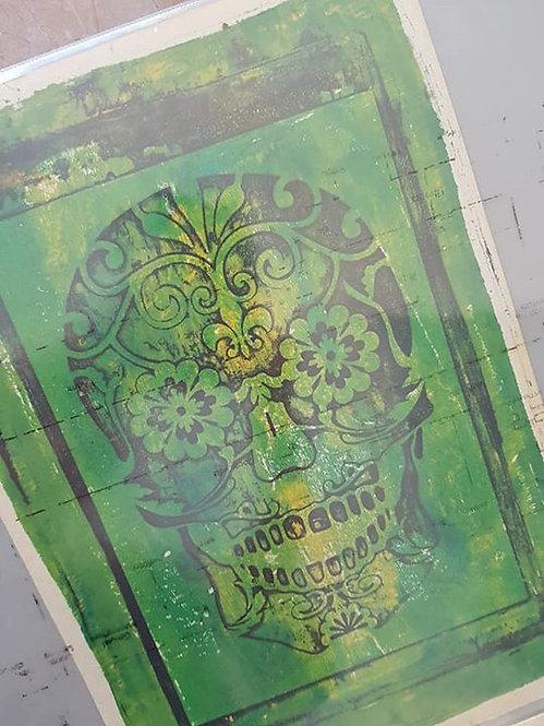 Green with Black Sugar Skull Limited Edition Print