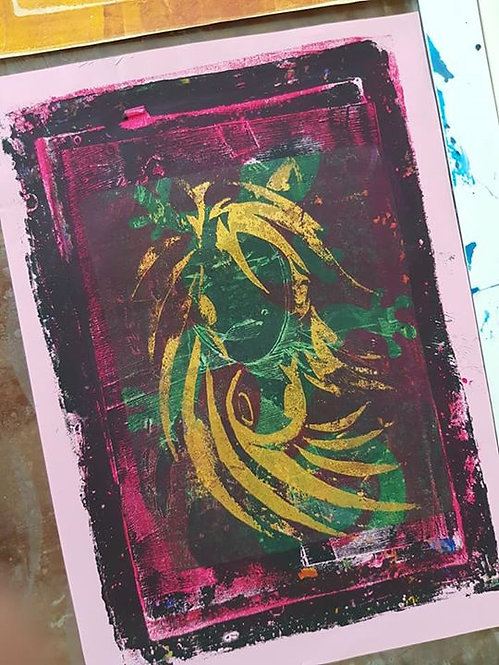 Black Pink & Green with Gold Horses Head Limited Edition Print