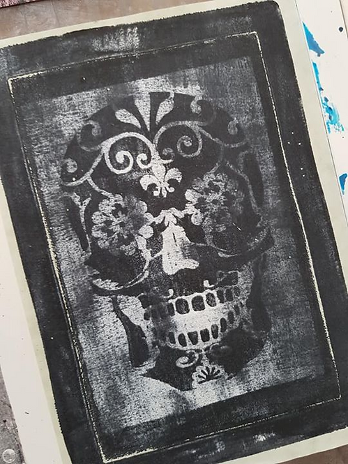 White with Black Sugar Skull Limited Edition Print