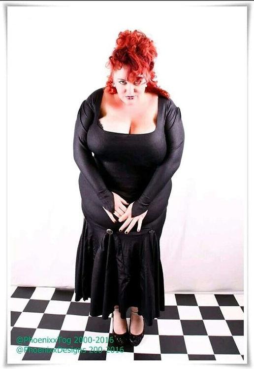 Plus Size Black Lycra Fabric Long Length Fishtale Gown