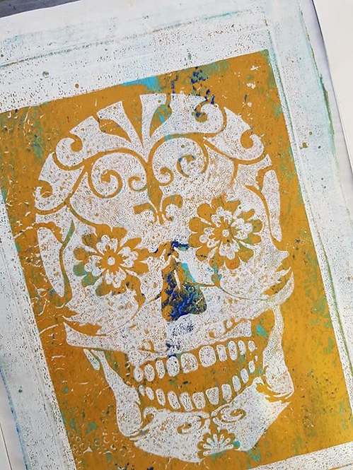 Orange & Blue Sugar Skull Limited Edition Print