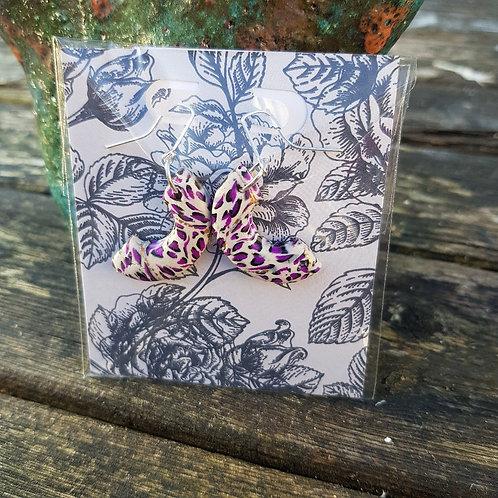 Purple Leopard Print Arch Earrings ..