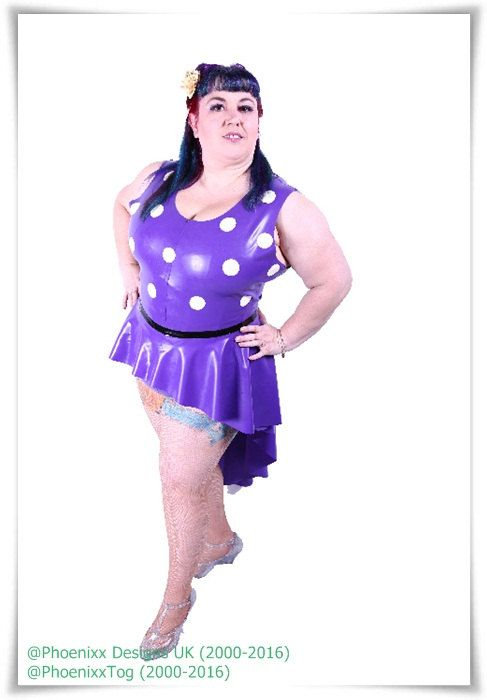 Size 20 - Plus Size Violet Latex Leotard with white Polka Dots ..