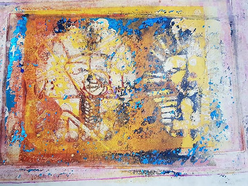 Orange Black Blue & Gold Sarcophagi Twin Heads Limited Edition Print
