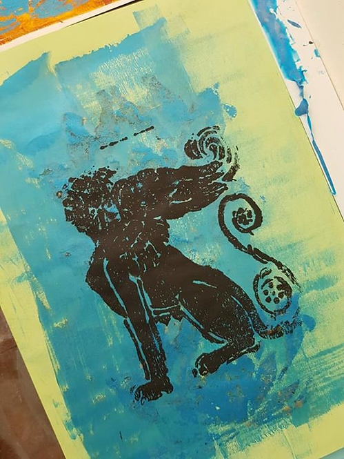 Blue with Black Babylonian Lion Limited Edition Print
