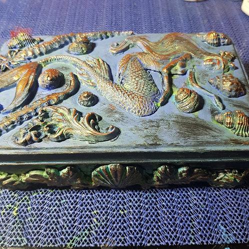 Hand-made Mermaid Decorated Tin .. Small ..