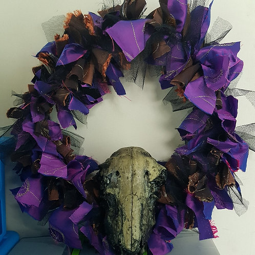 Steampunk Purple & Brown Skull Door Wreath