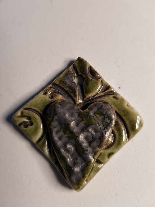 Medium Floral Double Square Porcelain Pendant