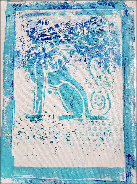 Blue Babylonian Sphinx Limited Edition Print